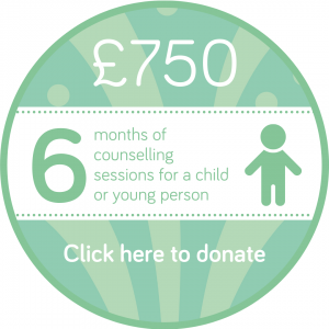 Sponsor 6 months of children or young people's counselling session button, Wellspring Harrogate