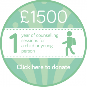 Sponsor 1 year of children or young people's counselling session button, Wellspring Harrogate