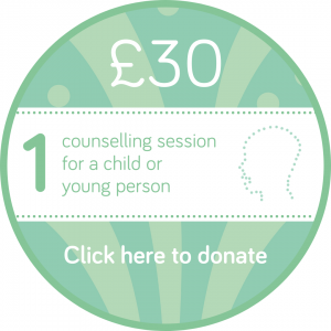 Sponsor a child or young person counselling session button, Wellspring Harrogate