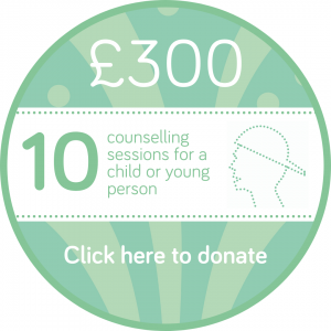 Sponsor 10 child or young person counselling session button, Wellspring Harrogate